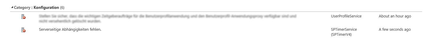 MissingSetupFile - Integritätsanalyse - Health Analyzer - Probleme und Lösungen überprüfen - Review problems and solutions - Serverseitige Abhängigkeiten fehlen - Missing Server Side Dependencies - SharePoint 2013