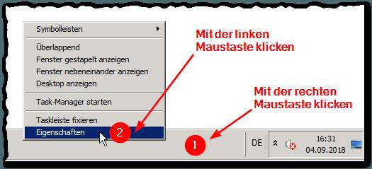 Taskleiste - Taskbar - Eigenschaften - Kontextmenü - Windows 7 - Server 2008 R2