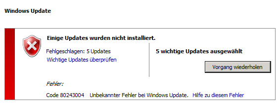 Windows Update – Code 80243004 – Fix