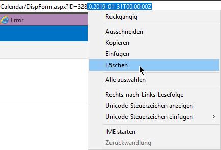 Calendar - ID bereinigen - Internet-Explorer - Kontextmenü Löschen