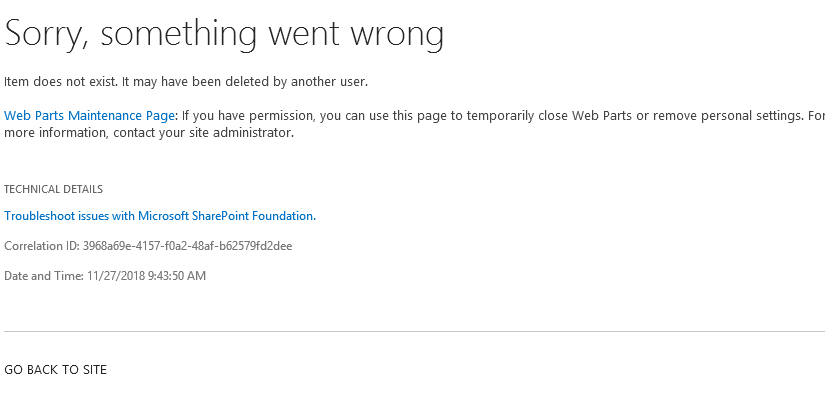"SharePoint-Kalender: ""Item does not exist. It may have been deleted by another user."" Fix"