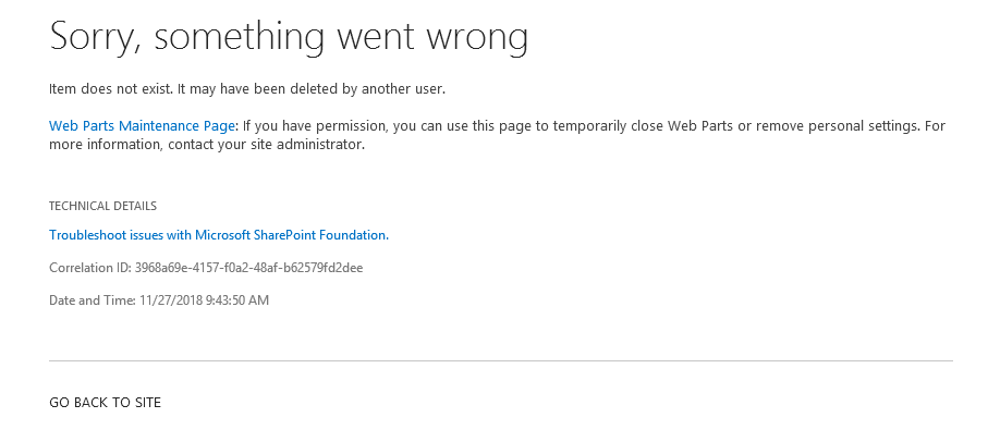 Item does not exist. It may have been deleted by another user. Fehler - Error - SharePoint 2013