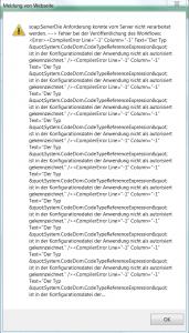 Meldung von der Website - soap ServerDie Anforderung konnte vom Server nicht verarbeitet werden - System.CodeDom.CodeTypeReferenceExpression