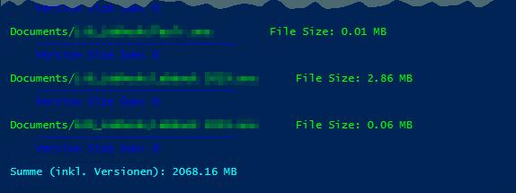 Dokumentenbibliothek - Liste - Dokumentenversionen - Dateigroesse, Versionen - Nur Summe der Dateien geblieben - PowerShell