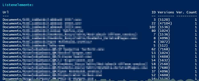 Dokumentenbibliothek - Listenelemente - Versionen Anzahl 1 - PowerShell
