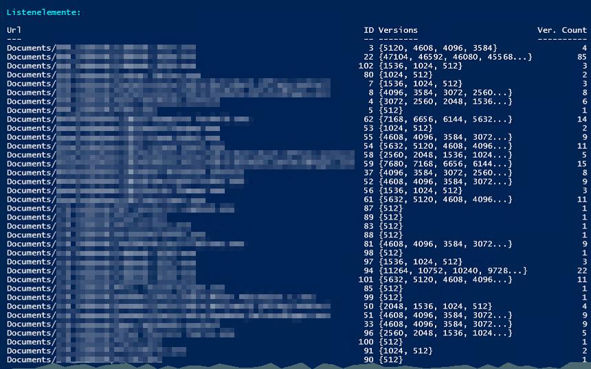 Dokumentenbibliothek - Listenelemente - Versionen Anzahl - PowerShell