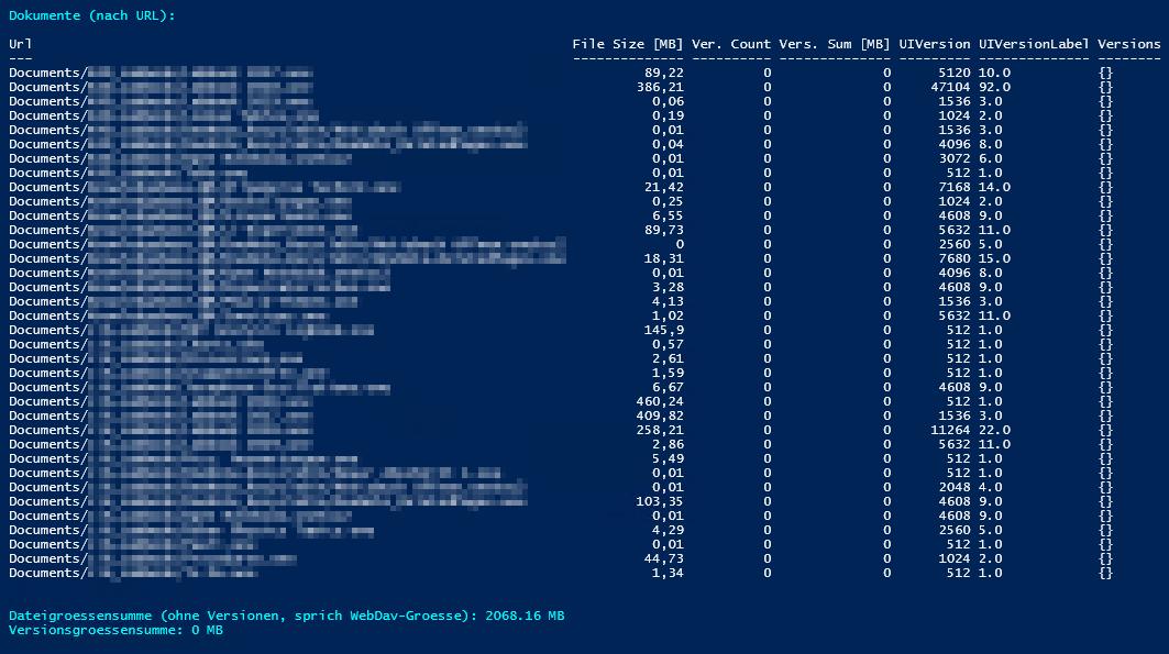 Dokumentenbibliothek - Tabelle - Dokumentenversionen - Dateigroesse, Anzahl Versionen, Dateisumme der Versionen 0 - PowerShell