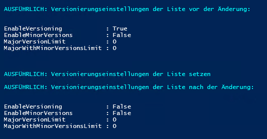 Versionsverwaltungseinstellungen - EnableVersioning - Disable Versioning - PowerShell Skript