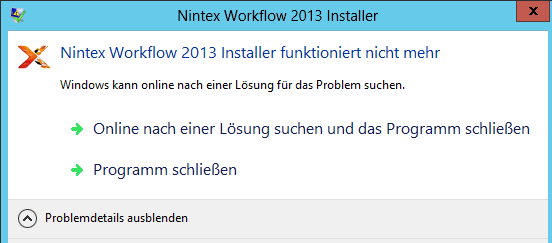 Nintex Workflow 2013 Installer APPCRASH