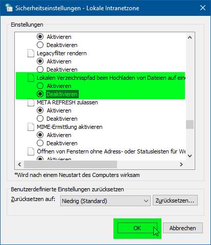 Internetoptionen - Eigenschaften von Internet - Stufe anpassen - Sicherheitseinstellungen - Lokale Intranetzone - Lokalen Verzeichnispfad beim Hochladen von Dateien auf einen Server einbeziehen - Deaktivieren