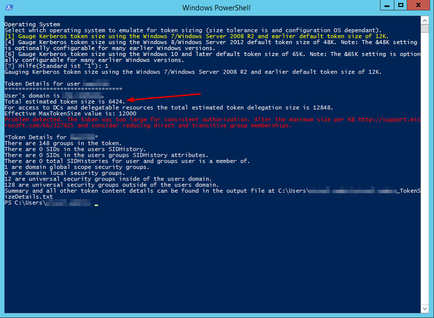 The specified network name is no longer available - Kerberos MaxTokenSize - CheckMaxTokenSize.ps1 - PowerShell Ausgabe