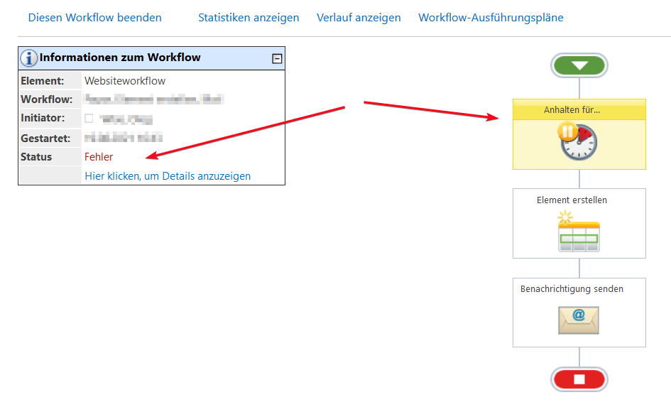 Nintex Workflow - Anhalten für - Fehler - Error - SharePoint2013